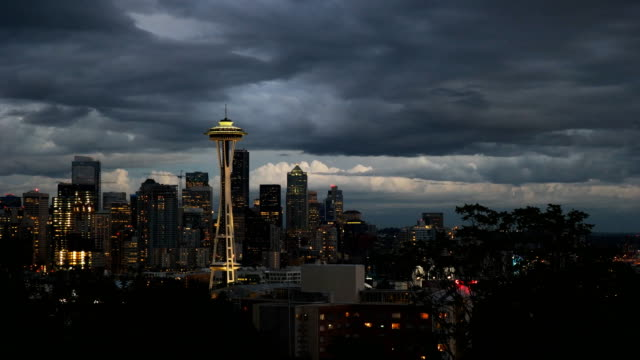 space needle stormy night