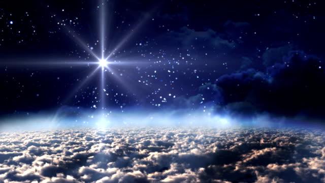 vídeos de stock e filmes b-roll de estrela da noite azul espaço - reis magos