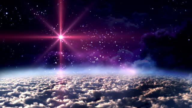 vídeos de stock e filmes b-roll de espaço de noite estrela vermelha - reis magos