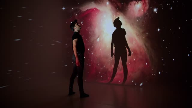 Space projection upon a male dancer
