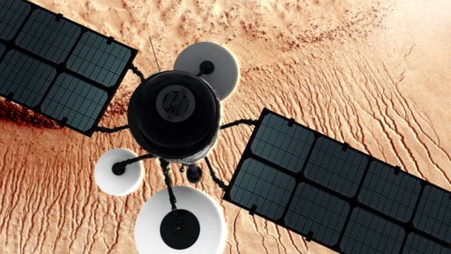 Space Research. Satellite orbiting near Mars surface video