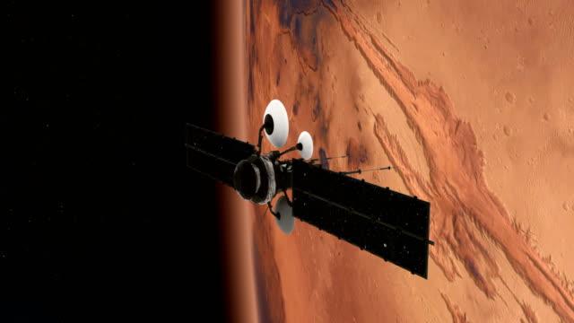 rymdforskning. satellit som kretsar kring nära mars - mars bildbanksvideor och videomaterial från bakom kulisserna