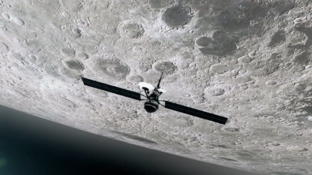 Space Research. Satellite orbiting near Moon video