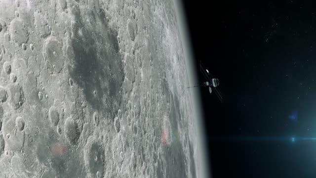 Space Research. Satellite orbiting near Moon video