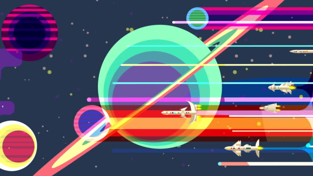 Space rockets flying past large planets and stars, retro futurism, animation video