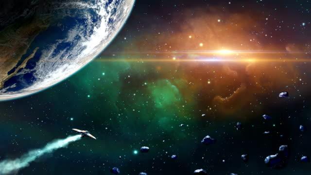 uzay sahne. uzay gemisi fly gezegen ve asteroid. https://visibleearth.nasa.gov/view.php?id=79765 - fantastik stok videoları ve detay görüntü çekimi