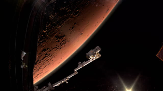 Space ship in Mars orbit.