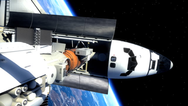 Space Shuttle And Space Station Orbiting Earth video