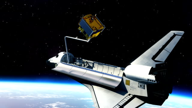 Space Shuttle Deploying Communication Satellite video