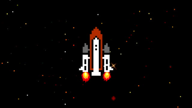 Space Shuttle Flying Up in Arcade Game Style in Loop
