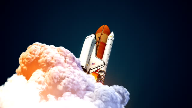 Space Shuttle Launch In The Clouds Of Smoke Space Shuttle Launch In The Clouds Of Smoke. 3D Animation. space exploration stock videos & royalty-free footage