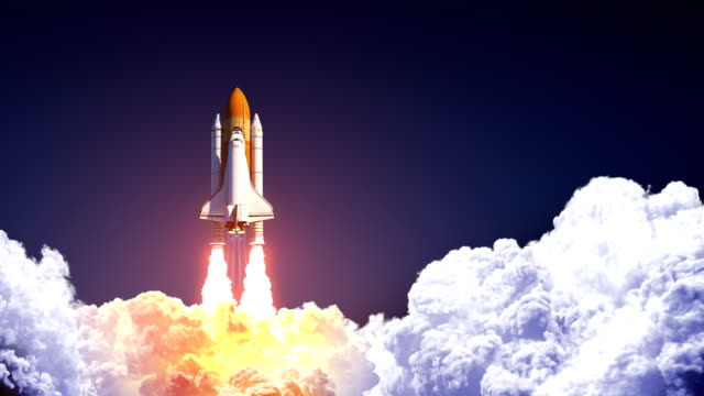 Space Shuttle Launch On Blue Sky. Slow Motion. 4K.
