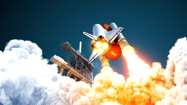 4k. space shuttle hebt ab. - rakete stock-videos und b-roll-filmmaterial