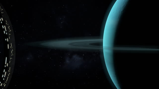 Space station approaching Uranus planet