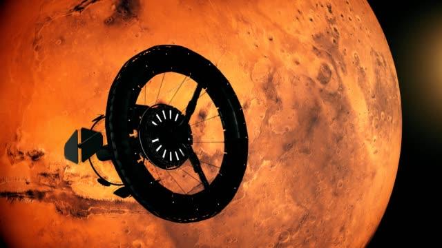 stacja kosmiczna orbitująca wokół marsa - badawczy statek kosmiczny filmów i materiałów b-roll