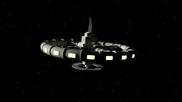 space station scene. - badawczy statek kosmiczny filmów i materiałów b-roll