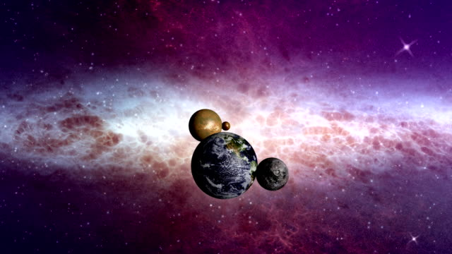 Space travel along planets in the solar system video