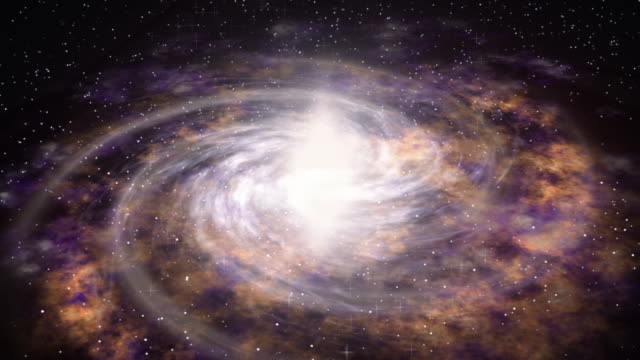 Space travel near big galaxy. Lot of stars at cosmos. CG motion of universe. Seamless loop background. video
