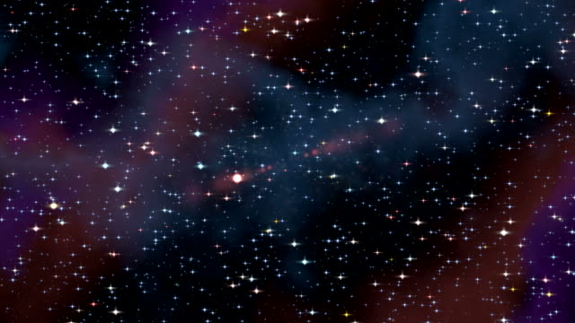 Space travel through starfield nebula video