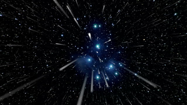 Space travel towards the Pleiades Space travel at a speed close to the speed of light. space exploration stock videos & royalty-free footage