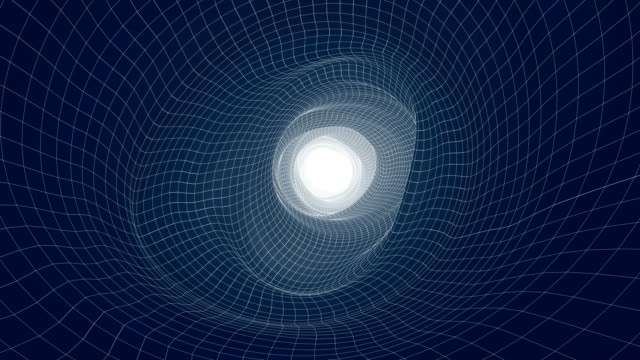 space tunnel endless loop - vortice forma geometrica video stock e b–roll