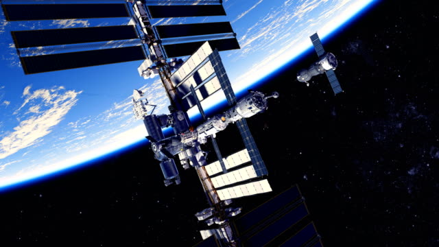 4k. spacecraft docking to international space station. 384x2160. - space exploration stock videos & royalty-free footage