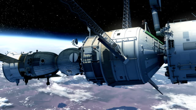 veicolo spaziale d'attracco per stazione spaziale - orbitare video stock e b–roll