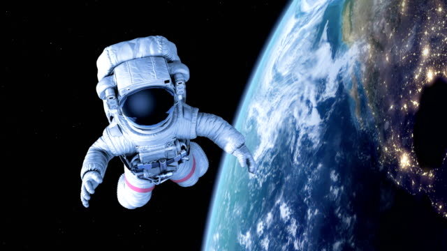 космонавт в космосе - space background стоковые видео и кадры b-roll