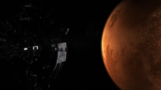 Spaceship approaching Mars planet