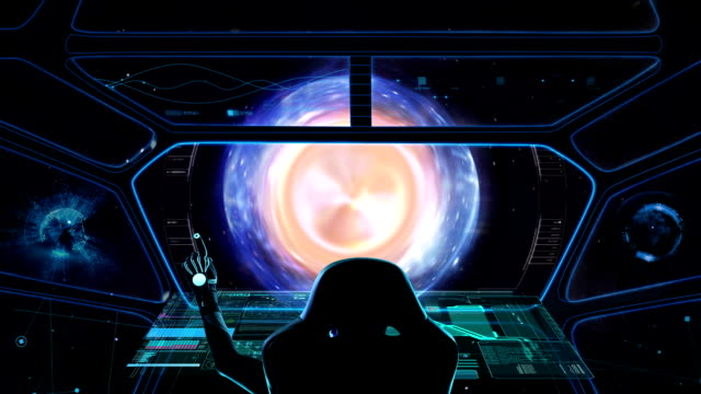 Spaceship Cockpit. Warp speed View from the captain's bridge. Travel in space to another Galaxy. space exploration stock videos & royalty-free footage