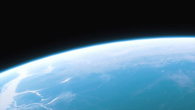 vídeos de stock e filmes b-roll de spaceship flies over the planet earth. cinematic shot of our home planet. view of planet earth from space. 3d animation - oxigénio fenómeno natural