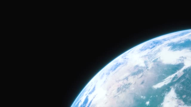 spaceship flies over the planet earth. cinematic shot of our home planet. view of planet earth from space. 3d animation - orbitare video stock e b–roll