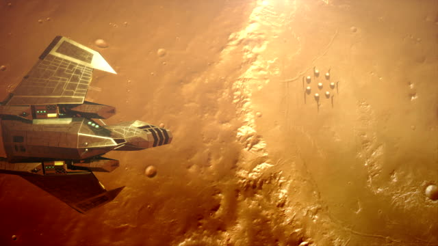 spaceship flying over planet surface spaceship flying over alien planet surface and colonial base. space exploration stock videos & royalty-free footage