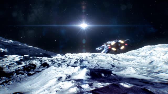太空船在月球或小行星表面移動 - 非都市風光 個影片檔及 b 捲影像