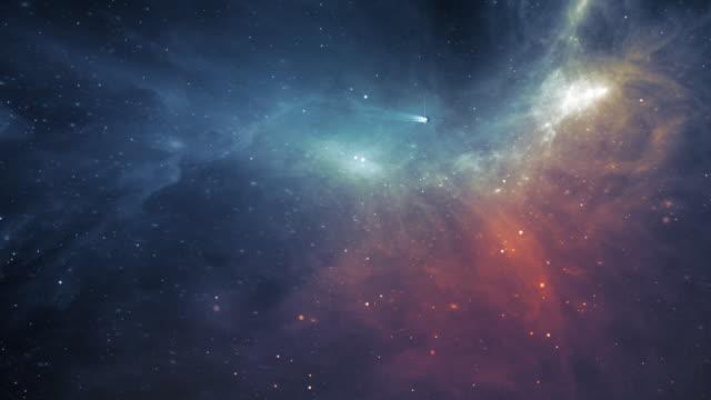 spaceship using warp drive flying towards nebula - sci fi - space exploration stock videos & royalty-free footage