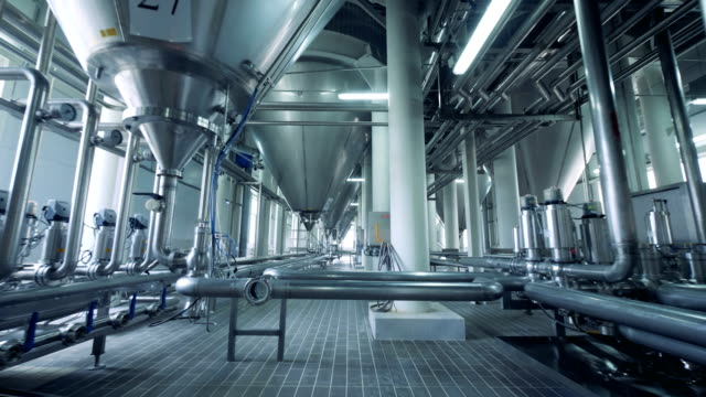 spacious unit of an alcohol-producing factory - acciaio inossidabile video stock e b–roll