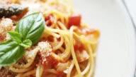 istock Spaghetti with tomato sauce, basil leaf 1267672428