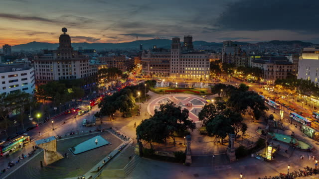 spain barcelona sunset till night placa de catalunya roof top panorama 4k time lapse