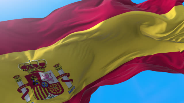 Spain flag video waving 4K. Realistic spanish background. Madrid background 3840x2160 px.