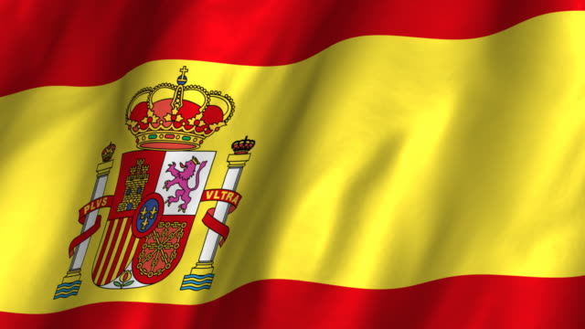 Spain Flag - waving, looping video