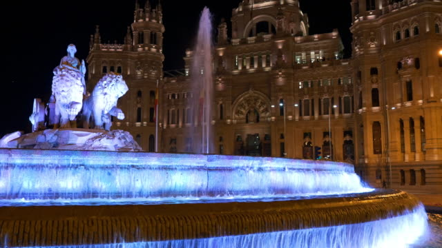 spain madrid night light plaza de la cibeles post office fountain view 4k video