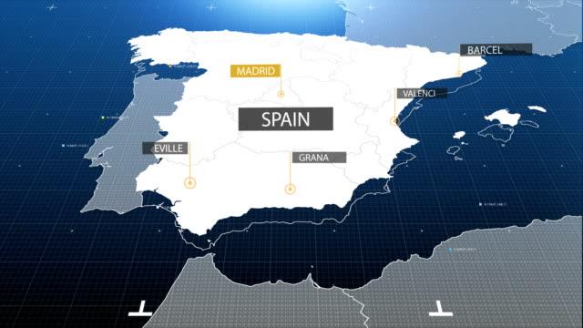spanien karte mit etikett dann mit etikett - spanien stock-videos und b-roll-filmmaterial