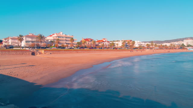 spain medetirranean sea panoramic view on sitges town 4k time lapse video