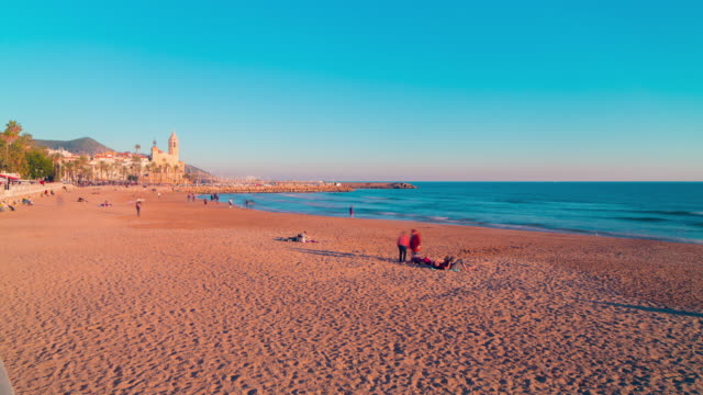 spain sitges sunset beach panorama 4k time lapse video