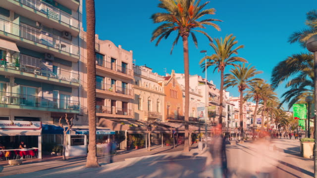 spain sitges tourist city walking bay road 4k time lapse video