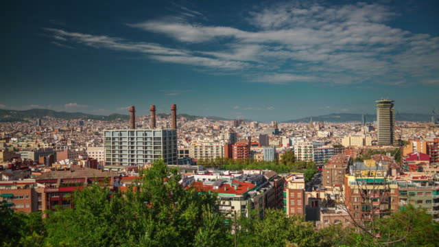 spain summer day barcelona city montjuic mountain panorama 4k time lapse video