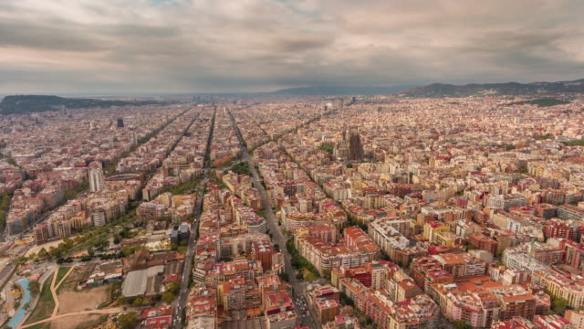 spain summer day barcelona cityscape aerial panorama 4k time lapse video