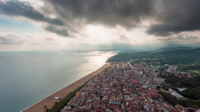 spain summer storm day barcelona city beach bay aerial panorama 4k time lapse video