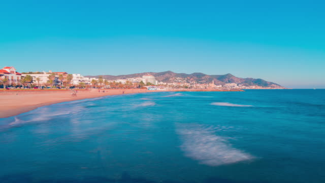 spain sun light sitges town panorama 4k time lapse video