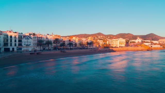spain sunset famous spain tourist sea town sitges panorama 4k time lapse video